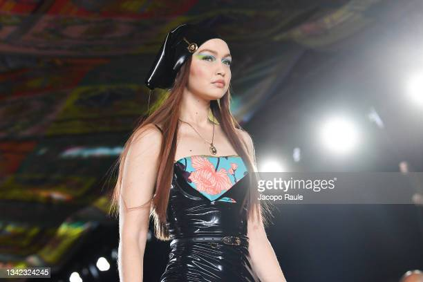 Gigi Hadid walks the runway at the Versace fashion show during the Milan Fashion Week - Spring / Summer 2022 on September 24, 2021 in Milan, Italy.