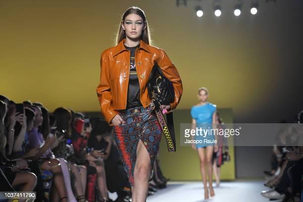 Gigi Hadid walks the runway at the Versace show during Milan Fashion Week Spring/Summer 2019 on September 21 2018 in Milan Italy