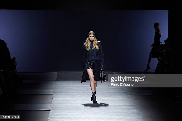 Gigi Hadid walks the runway at the Versace show during Milan Fashion Week Fall/Winter 2016/17 on February 26 2016 in Milan Italy