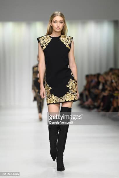 Gigi Hadid walks the runway at the Versace show during Milan Fashion Week Spring/Summer 2018 on September 22, 2017 in Milan, Italy.