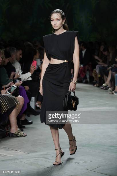 Gigi Hadid walks the runway at the Versace show during the Milan Fashion Week Spring/Summer 2020 on September 20, 2019 in Milan, Italy.