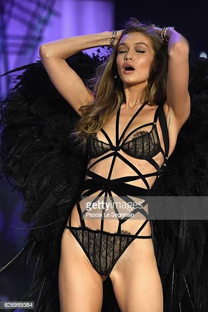 Gigi Hadid walks the runway at the Victoria's Secret Fashion Show on November 30 2016 in Paris France