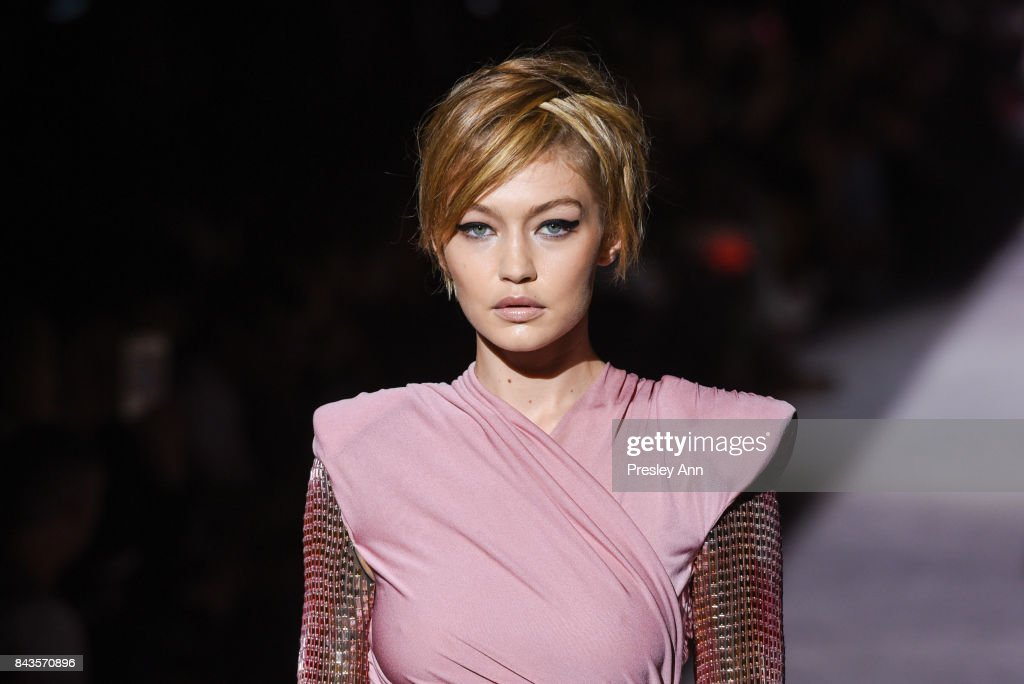 Gigi Hadid walks the runway at Tom Ford - Runway - September 2017 - New York Fashion Week at 643 Park Avenue on September 6, 2017 in New York City.