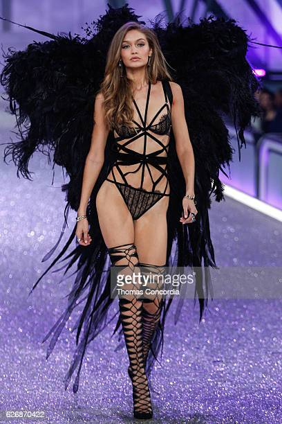 Gigi Hadid walks the runway during the 2016 Victoria's Secret Fashion Show at the Grand Palais in Paris on November 30 2016 in Paris France