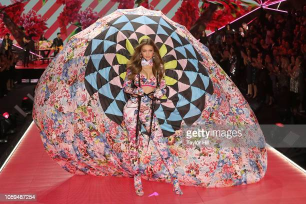 Gigi Hadid walks the runway during the 2018 Victoria's Secret Fashion Show at Pier 94 on November 8, 2018 in New York City.