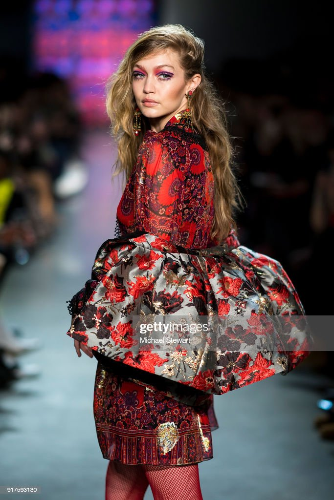 Gigi Hadid walks the runway during the Anna Sui fashion show during New York Fashion Week at Gallery I at Spring Studios on February 12, 2018 in New York City.