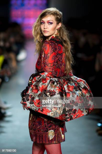 Gigi Hadid walks the runway during the Anna Sui fashion show during New York Fashion Week at Gallery I at Spring Studios on February 12 2018 in New...