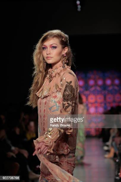 Gigi Hadid walks the runway during the Anna Sui fashion show February 2018 New York Fashion Week The Shows at Gallery I at Spring Studios on February...