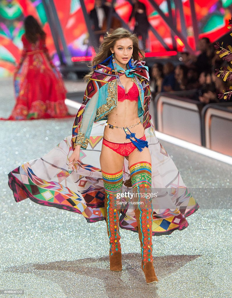 Gigi Hadid walks the runway during the annual Victoria's Secret fashion show at Grand Palais on November 30, 2016 in Paris, France.
