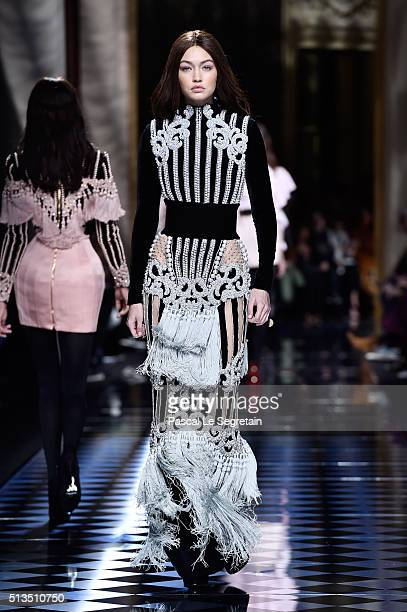 Gigi Hadid walks the runway during the Balmain show as part of the Paris Fashion Week Womenswear Fall/Winter 2016/2017 on March 3 2016 in Paris France