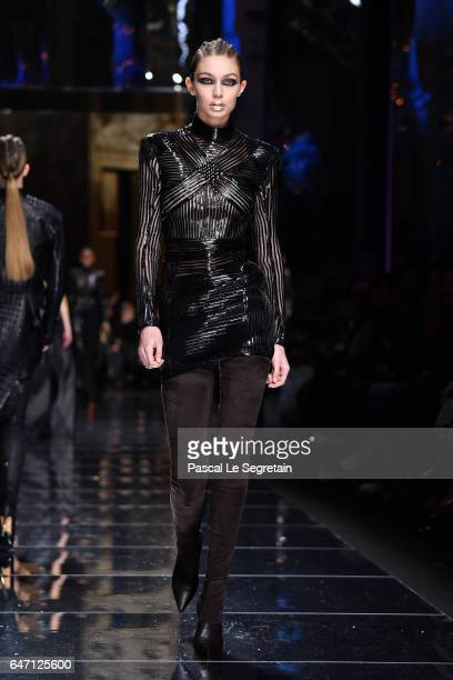 797a0826b092 Gigi Hadid walks the runway during the Balmain show as part of the Paris  Fashion Week