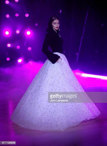 Gigi Hadid walks the runway during the Brandon Maxwell show during February 2018 New York Fashion Week at Appel Room on February 11 2018 in New York...
