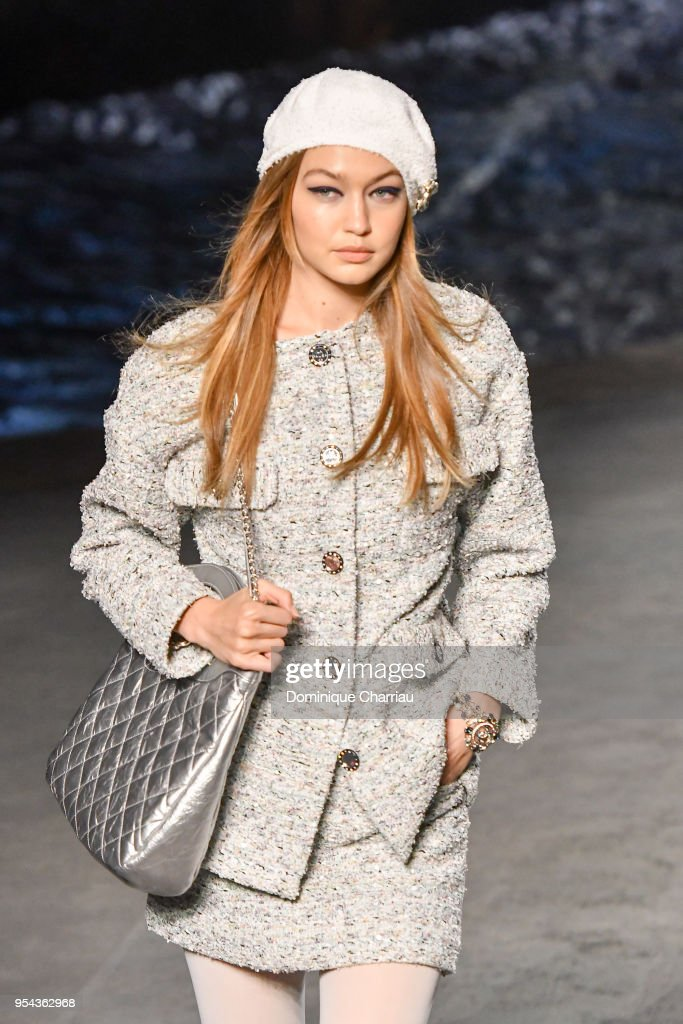 Gigi Hadid walks the runway during the Chanel Cruise 2018/2019 Collection at Le Grand Palais on May 3, 2018 in Paris, France.