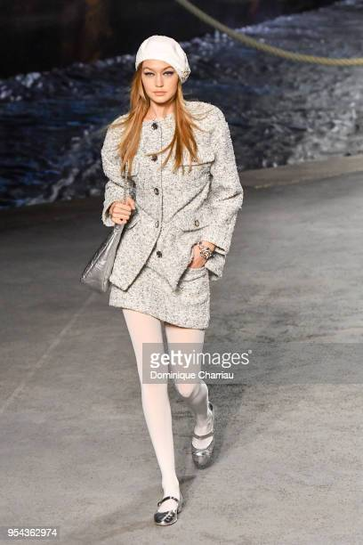 Gigi Hadid walks the runway during the Chanel Cruise 2018/2019 Collection at Le Grand Palais on May 3 2018 in Paris France