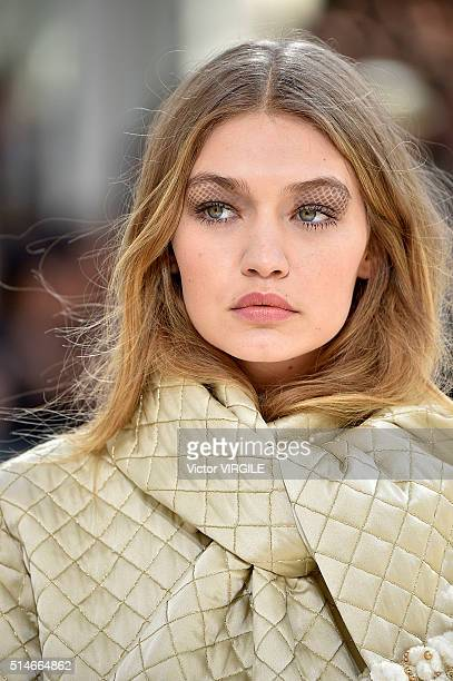 Gigi Hadid walks the runway during the Chanel fashion show as part of the Paris Fashion Week Womenswear Fall/Winter 2016/2017 on March 8 2016 in...