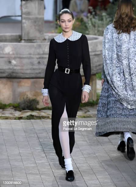 Gigi Hadid walks the runway during the Chanel Haute Couture Spring/Summer 2020 show as part of Paris Fashion Week on January 21 2020 in Paris France