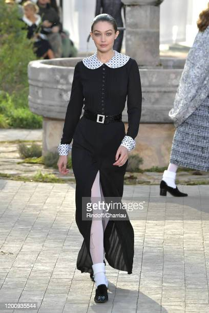 Gigi Hadid walks the runway during the Chanel Haute Couture Spring/Summer 2020 show as part of Paris Fashion Week on January 21, 2020 in Paris,...