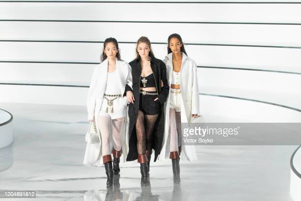 Gigi Hadid walks the runway during the Chanel show as part of the Paris Fashion Week Womenswear Fall/Winter 2020/2021 on March 3, 2020 in Paris,...