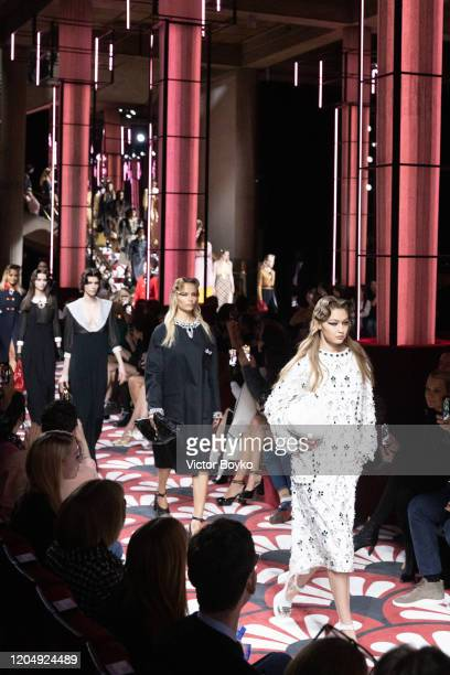 Gigi Hadid walks the runway during the finale of the Miu Miu show as part of the Paris Fashion Week Womenswear Fall/Winter 2020/2021 on March 3 2020...