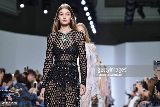 Gigi Hadid walks the runway during the Gambattista Valli show as part of the Paris Fashion Week Womenswear Spring/Summer 2017 on October 3 2016 in...