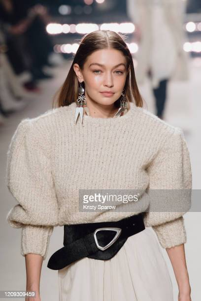 Gigi Hadid walks the runway during the Isabel Marant show as part of Paris Fashion Week Womenswear Fall/Winter 2020/2021 on February 27, 2020 in...