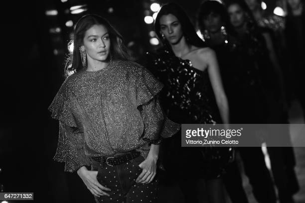 Gigi Hadid walks the runway during the Isabel Marant show as part of Paris Fashion Week Womenswear Fall/Winter 2017/2018 on March 2 2017 in Paris...