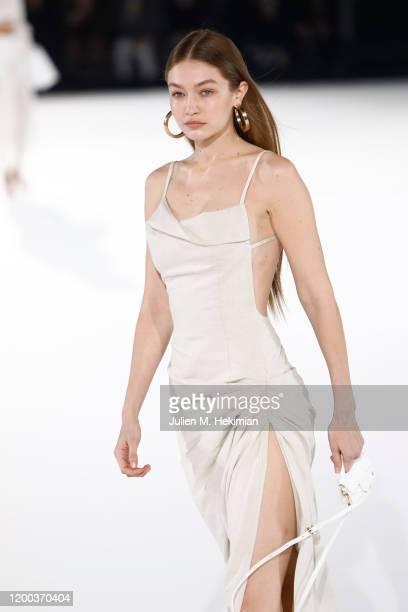 Gigi Hadid walks the runway during the Jacquemus Menswear Fall/Winter 2020-2021 show as part of Paris Fashion Week on January 18, 2020 in Paris,...