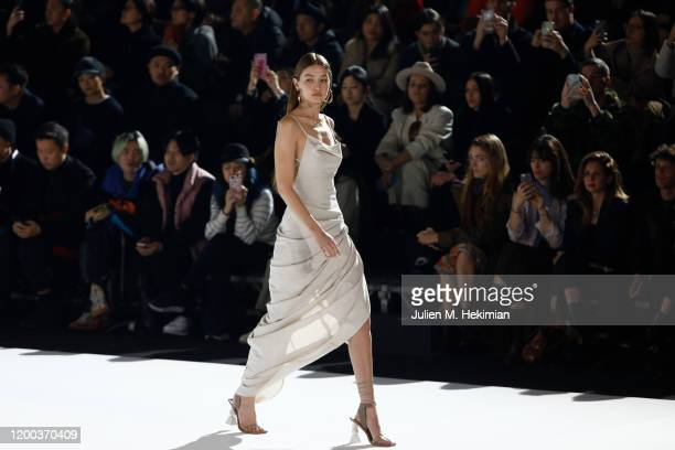Gigi Hadid walks the runway during the Jacquemus Menswear Fall/Winter 2020-2021 show as part of Paris Fashion Week on January 18, 2020 in Paris,...