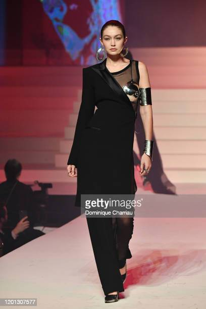 Gigi Hadid walks the runway during the Jean-Paul Gaultier Haute Couture Spring/Summer 2020 show as part of Paris Fashion Week at Theatre Du Chatelet...