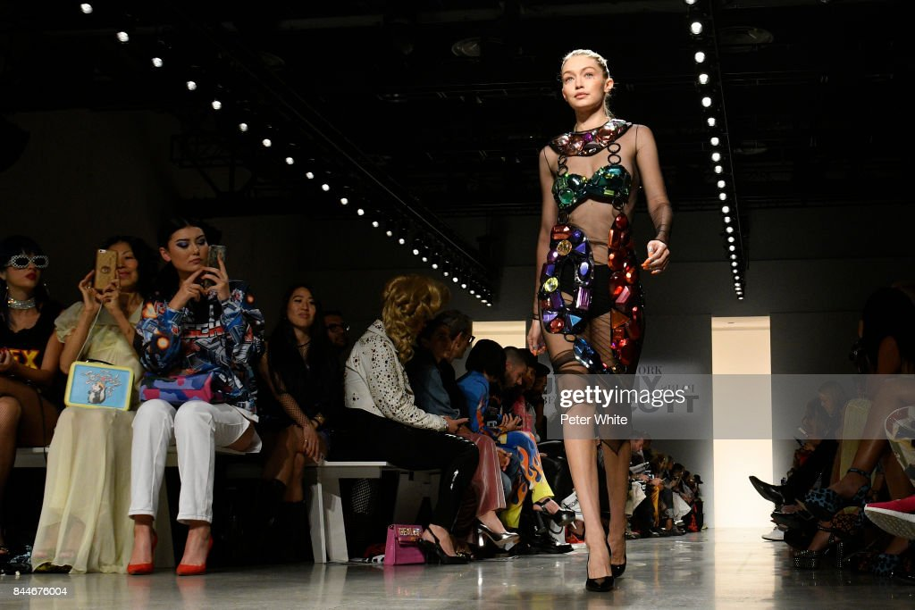 Gigi Hadid walks the runway during the Jeremy Scott fashion show during New York Fashion Week on September 8, 2017 in New York City.