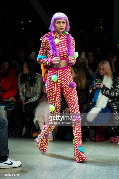 Gigi Hadid walks the runway during the Jeremy Scott fashion show during New York Fashion Week The Shows at Gallery I at Spring Studios on February 8...