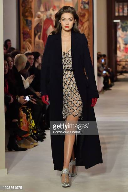 Gigi Hadid walks the runway during the Lanvin show as part of the Paris Fashion Week Womenswear Fall/Winter 2020/2021 on February 26, 2020 in Paris,...