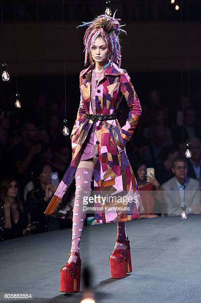 Gigi Hadid walks the runway during the Marc Jacobs Spring 2017 fashion show during New York Fashion Week at the Hammerstein Ballroom on September 15...
