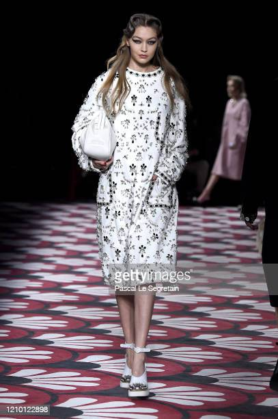 Gigi Hadid walks the runway during the Miu Miu as part of the Paris Fashion Week Womenswear Fall/Winter 2020/2021 on March 03, 2020 in Paris, France.