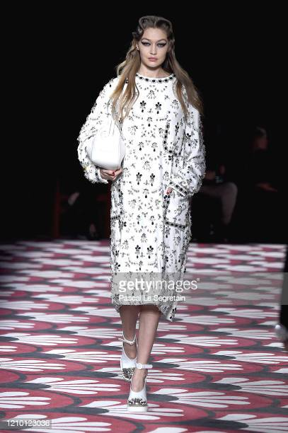 Gigi Hadid walks the runway during the Miu Miu as part of the Paris Fashion Week Womenswear Fall/Winter 2020/2021 on March 03 2020 in Paris France