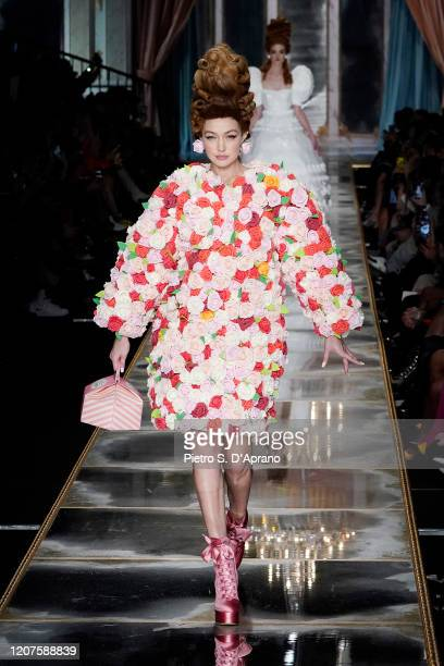 Gigi Hadid walks the runway during the Moschino fashion show as part of Milan Fashion Week Fall/Winter 20202021 on February 20 2020 in Milan Italy