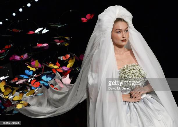 Gigi Hadid walks the runway during the Moschino SS19 Show during Milan Fashion Week on September 20 2018 in Milan Italy