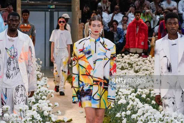 Gigi Hadid walks the runway during the OffWhite Menswear Spring Summer 2020 show as part of Paris Fashion Week on June 19 2019 in Paris France