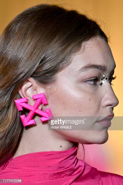 Gigi Hadid walks the runway during the Off-White Ready to Wear Spring/Summer 2020 fashion show as part of Paris Fashion Week on September 26, 2019 in...