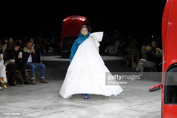 Gigi Hadid walks the runway during the Off-White show as part of Paris Fashion Week Womenswear Fall/Winter 2020/2021 on February 27, 2020 in Paris,...
