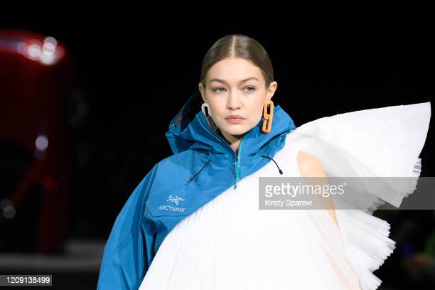 Gigi Hadid walks the runway during the OffWhite show as part of Paris Fashion Week Womenswear Fall/Winter 2020/2021 on February 27 2020 in Paris...