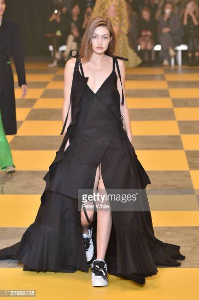 Gigi Hadid walks the runway during the OffWhite show as part of the Paris Fashion Week Womenswear Fall/Winter 2019/2020 on February 28 2019 in Paris...