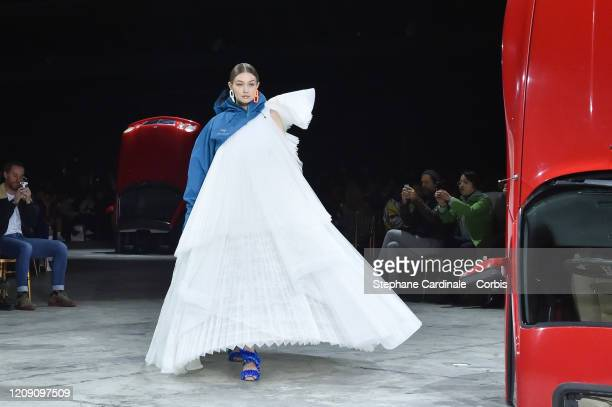 Gigi Hadid walks the runway during the OffWhite show as part of the Paris Fashion Week Womenswear Fall/Winter 2020/2021 on February 27 2020 in Paris...