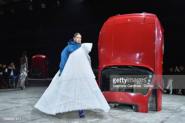 Gigi Hadid walks the runway during the Off-White show as part of the Paris Fashion Week Womenswear Fall/Winter 2020/2021 on February 27, 2020 in...