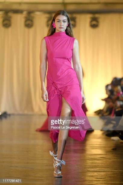 Gigi Hadid walks the runway during the Off-White Womenswear Spring/Summer 2020 show as part of Paris Fashion Week on September 26, 2019 in Paris,...