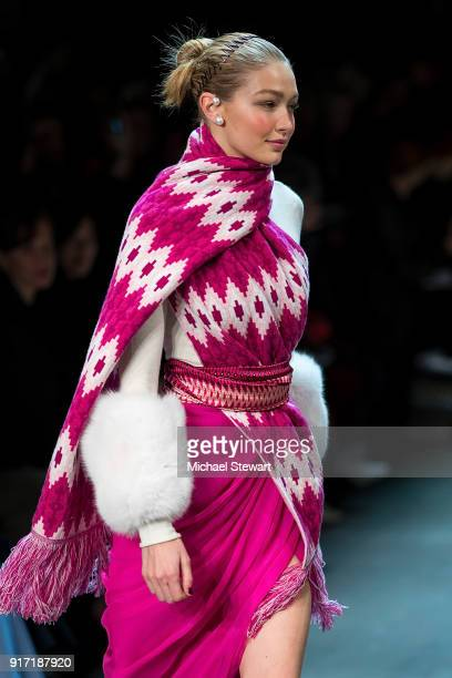 Gigi Hadid walks the runway during the Prabal Gurung fashion show during New York Fashion Week at Gallery I at Spring Studios on February 11 2018 in...