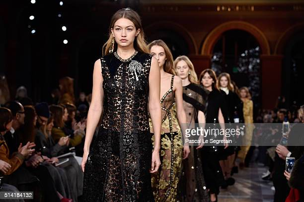 Gigi Hadid walks the runway during the Sonia Rykiel show as part of the Paris Fashion Week Womenswear Fall/Winter 2016/2017 on March 7 2016 in Paris...