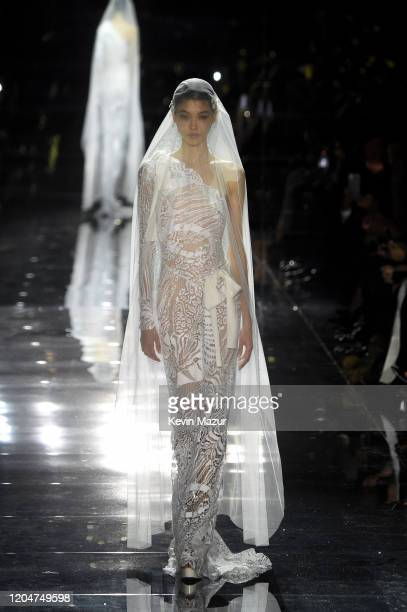 Gigi Hadid walks the runway during the Tom Ford AW20 Show at Milk Studios on February 07, 2020 in Hollywood, California.