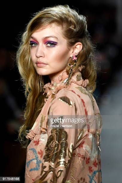 Gigi Hadid walks the runway for Anna Sui during New York Fashion Week The Shows at Gallery I at Spring Studios on February 12 2018 in New York City