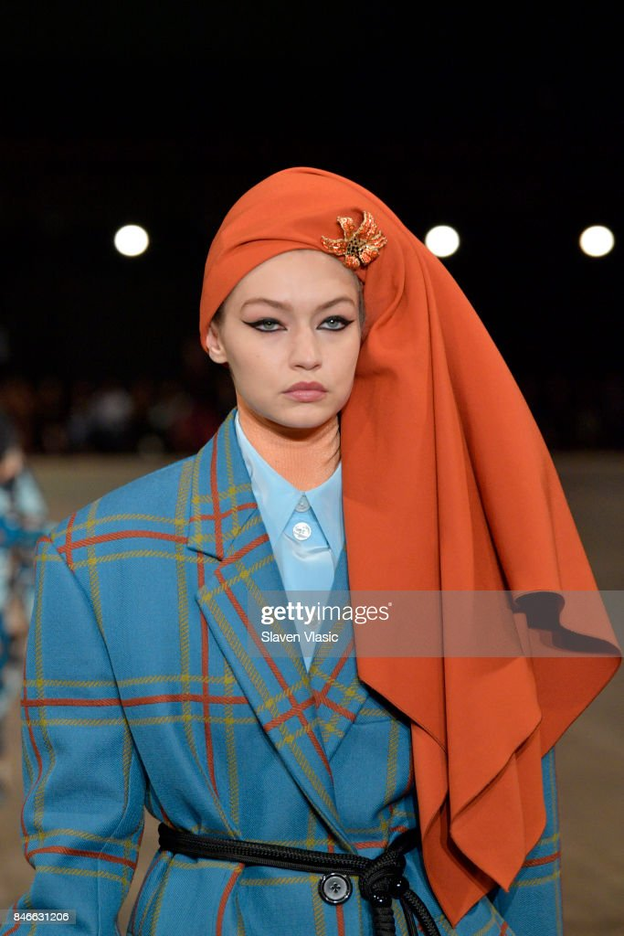 Gigi Hadid walks the runway for Marc Jacobs SS18 fashion show during New York Fashion Week at Park Avenue Armory on September 13, 2017 in New York City.